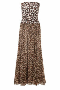 Caroline Constas - Marianna Leopard-print Charmeuse And Chiffon Maxi Dress - Leopard print