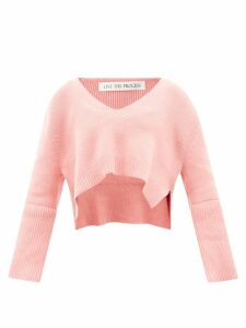 Prada - Ruffle Trimmed Cotton And Silk Chiffon T Shirt - Womens - Red Multi