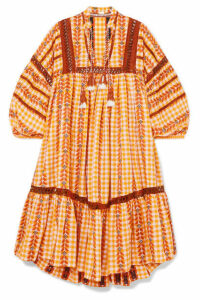 Dodo Bar Or - Tasseled Crochet-trimmed Gingham Cotton-jacquard Dress - Mustard