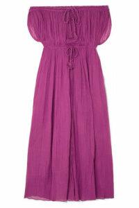 Miguelina - Juno Off-the-shoulder Cotton-gauze Maxi Dress - Violet