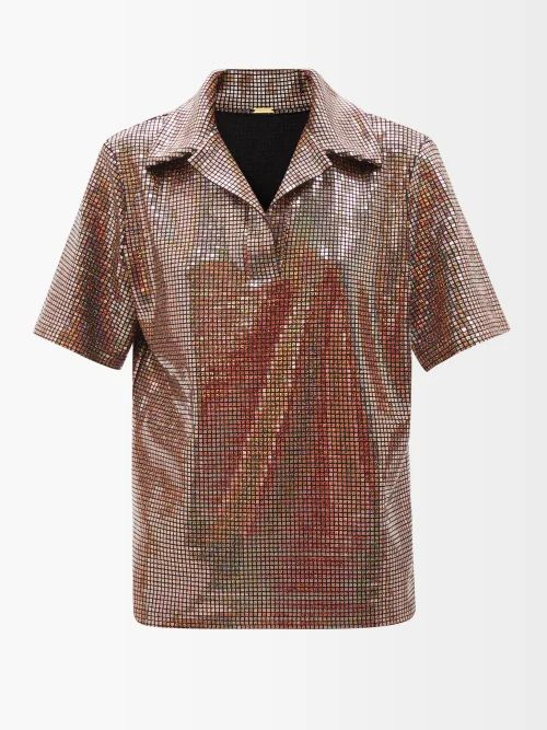 Balmain - Button Embellished Striped T Shirt - Womens - Black White