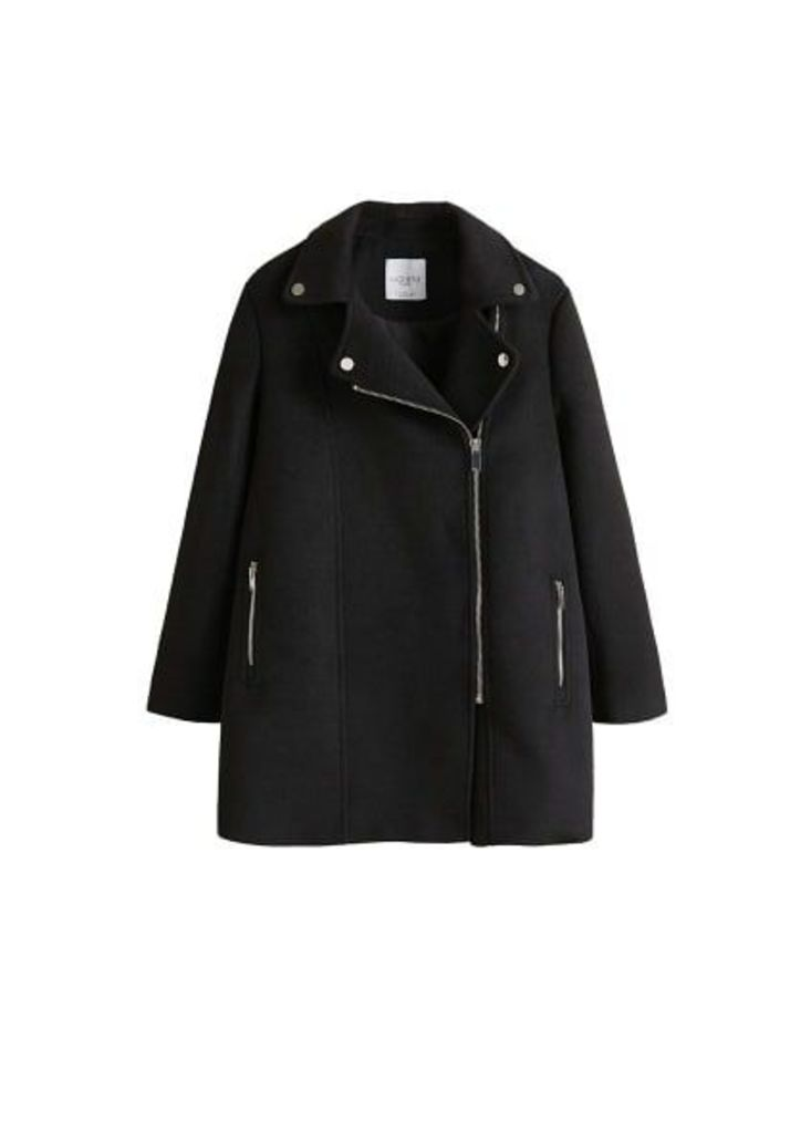 Side-zip straight-cut coat