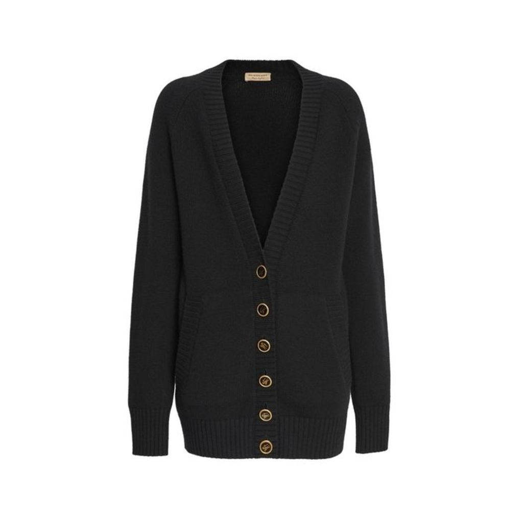 Burberry Logo Button Cashmere Cardigan