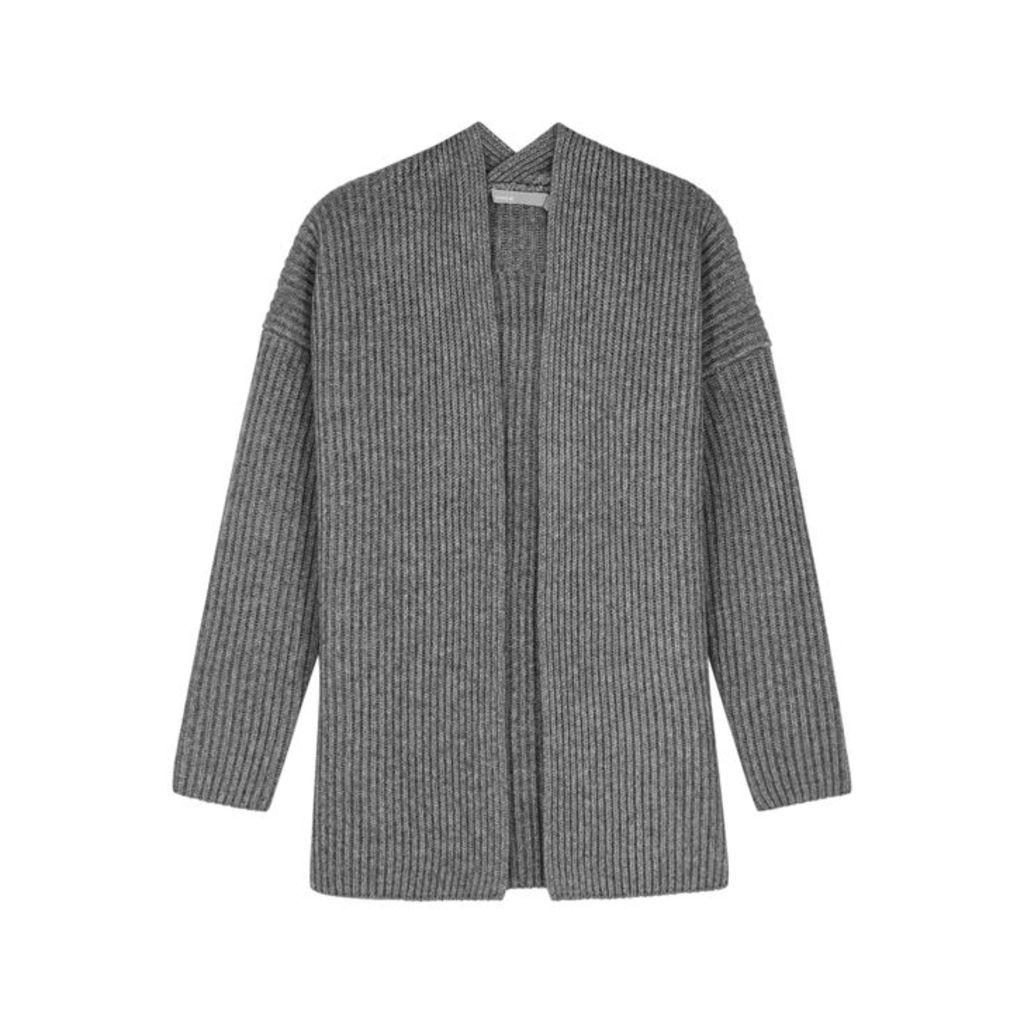 Vince Grey Ribbed Wool-blend Cardigan