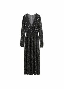 Polka-dot pleated dress