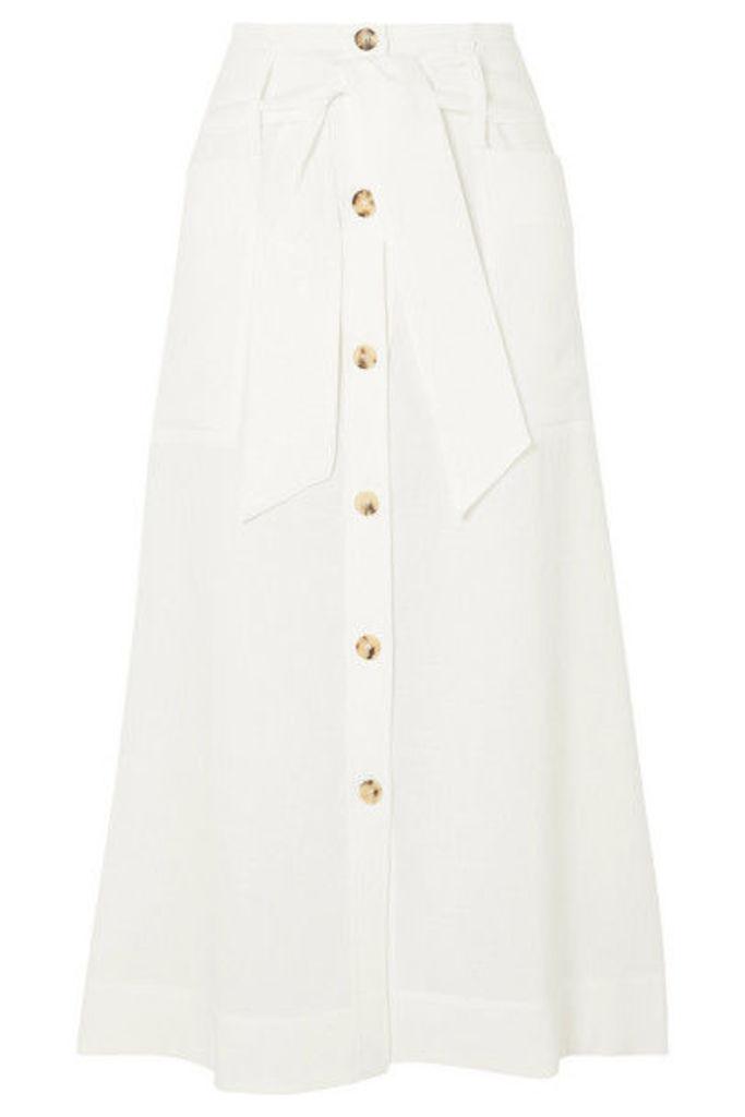 Le Kasha - Giza Linen Midi Skirt - White