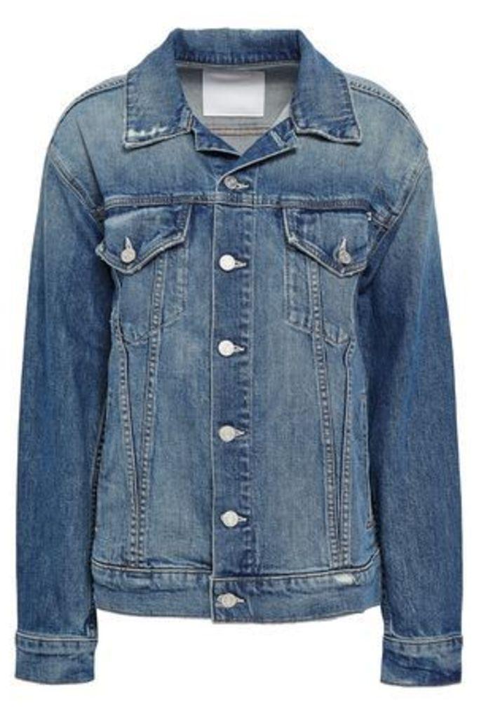 Mother Woman Distressed Denim Jacket Mid Denim Size L