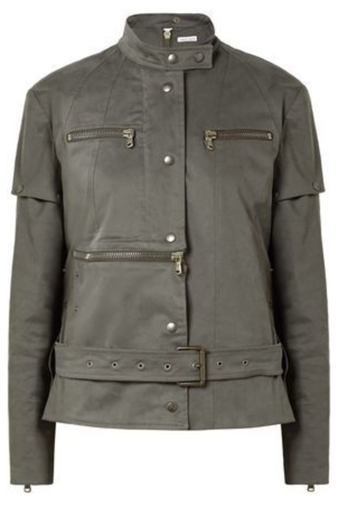 Tomas Maier Woman Convertible Cotton-blend Jacket Army Green Size 6