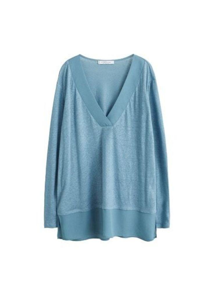 Mixed linen-blend t-shirt