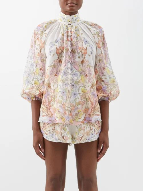 Pallas X Claire Thomson-jonville - Eden Contrast Lapel Single Breasted Wool Blazer - Womens - Light Pink
