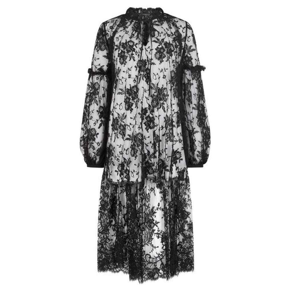 Alexander McQueen Black Floral Lace Blouse