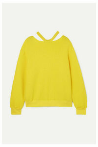 Unravel Project - Appliquéd Cutout Cotton And Cashmere-blend Sweater - Yellow