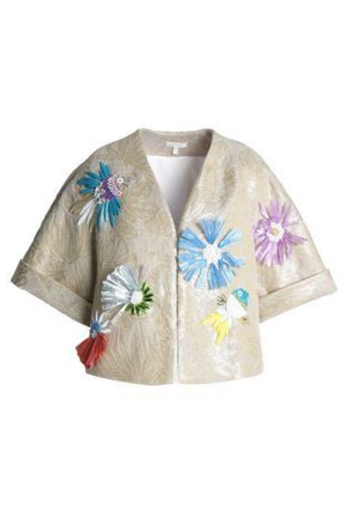 Delpozo Woman Embellished Metallic Jacquard Jacket Beige Size 40