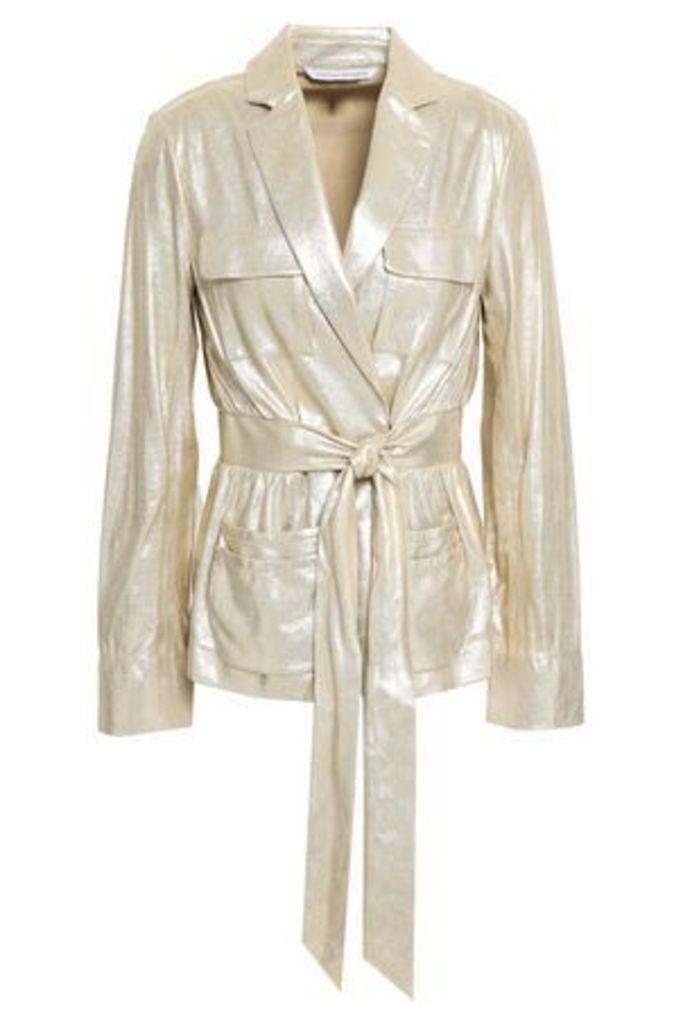 Diane Von Furstenberg Woman Hilda Metallic Leather Jacket Gold Size 8