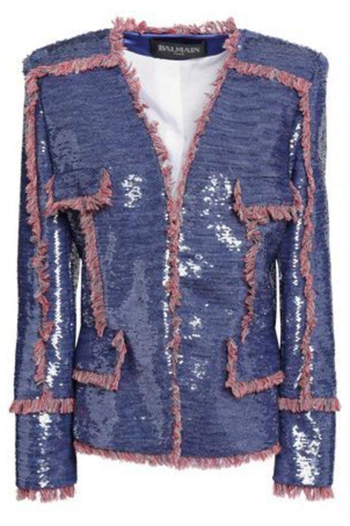 Balmain Woman Fringed Sequin-embellished Woven Jacket Indigo Size 40