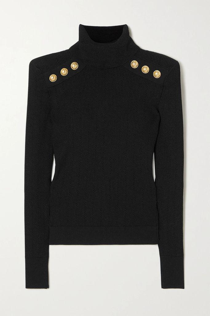REDValentino - Ruffle-trimmed Cotton-blend Sweater - Black