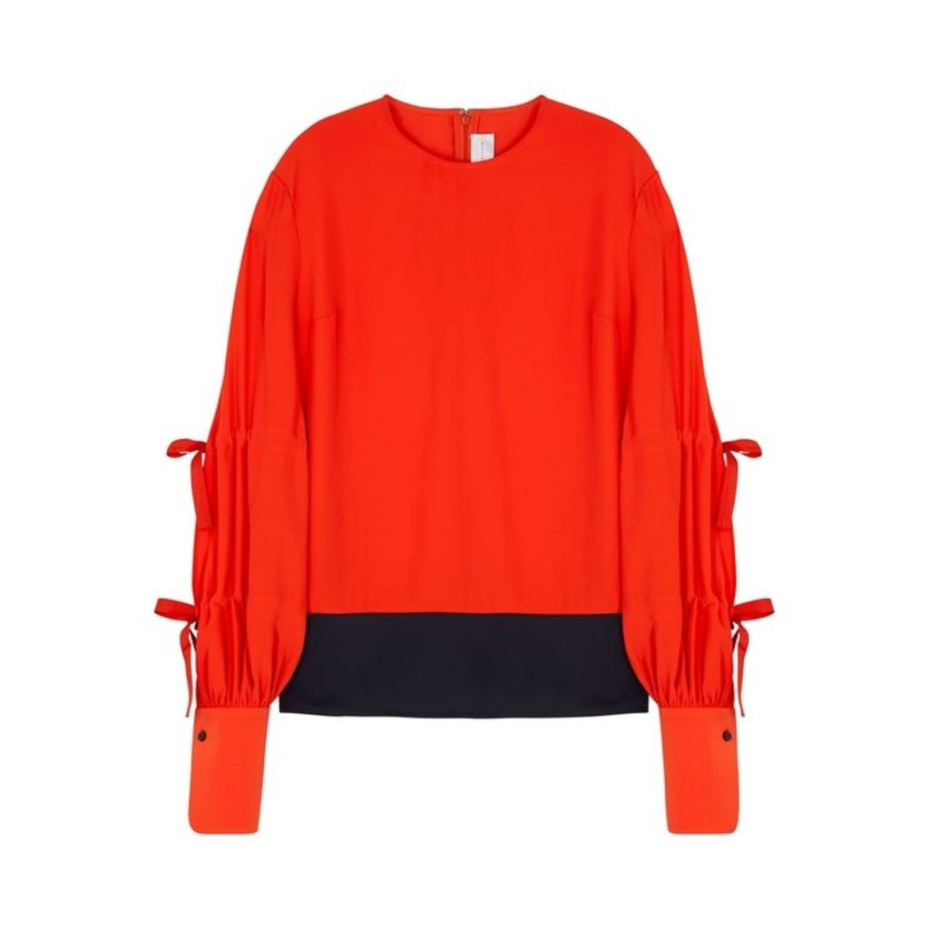 Victoria, Victoria Beckham Two-tone Tie-embellished Blouse