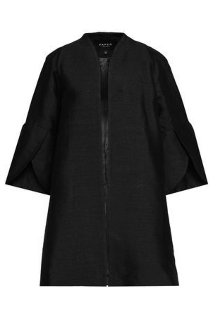 Paper London Woman Open-front Cotton-blend Jacket Black Size 12