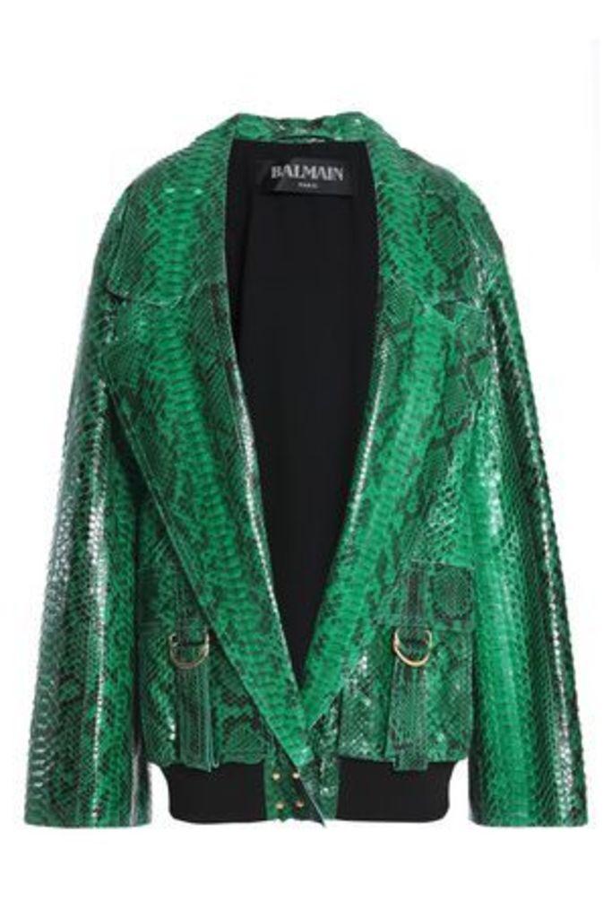Balmain Woman Python Jacket Green Size 34