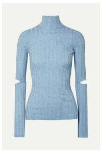 Helmut Lang - Cutout Ribbed Wool Turtleneck Sweater - Light blue