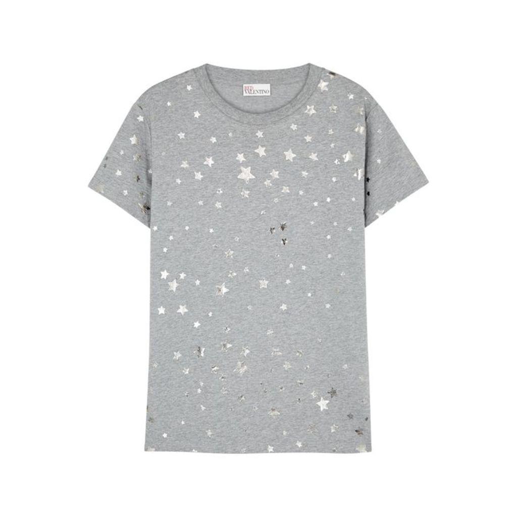 RED Valentino Grey Star-print Cotton T-shirt