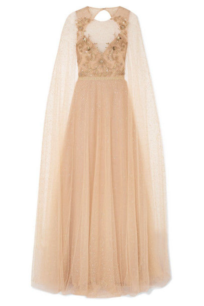Marchesa Notte - Cape-effect Embellished Glittered Tulle Gown - Blush