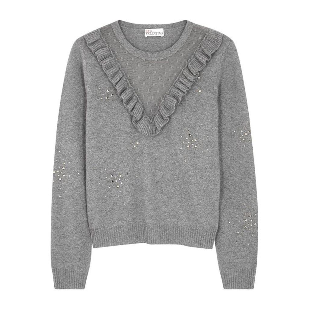 RED Valentino Grey Crystal-embellished Wool-blend Jumper