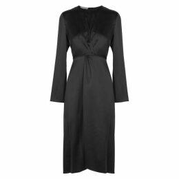Vince Black Silk Satin Midi Dress