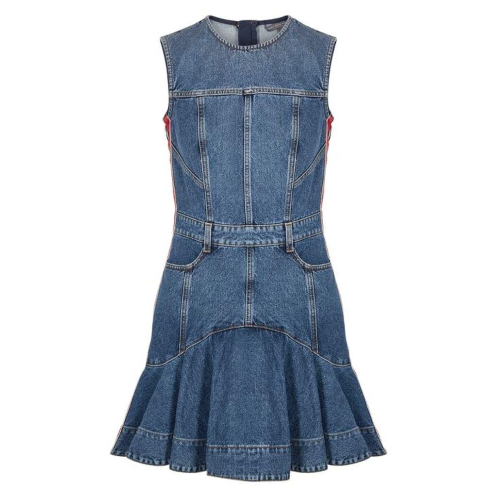 Alexander McQueen Blue Peplum Denim Mini Dress