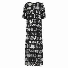 Boutique Moschino Black Typography-print Maxi Dress