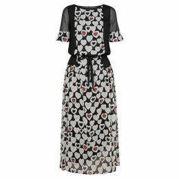 Emporio Armani Black Heart-print Chiffon Midi Dress
