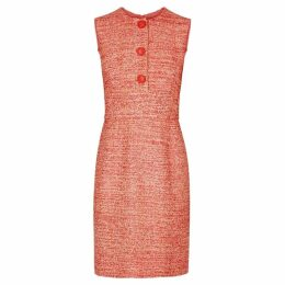 Paule Ka Pink Button-embellished Tweed Dress