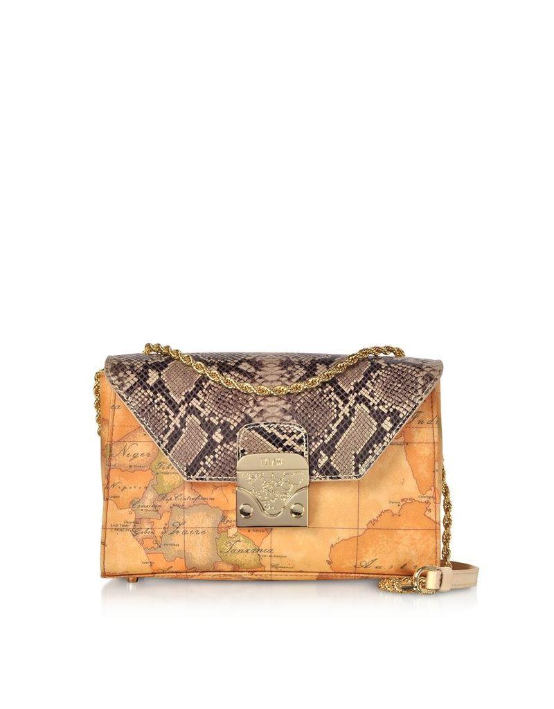 Alviero Martini 1A Classe Designer Handbags, Reptile & Geo Printed Amor Crossbody Bag