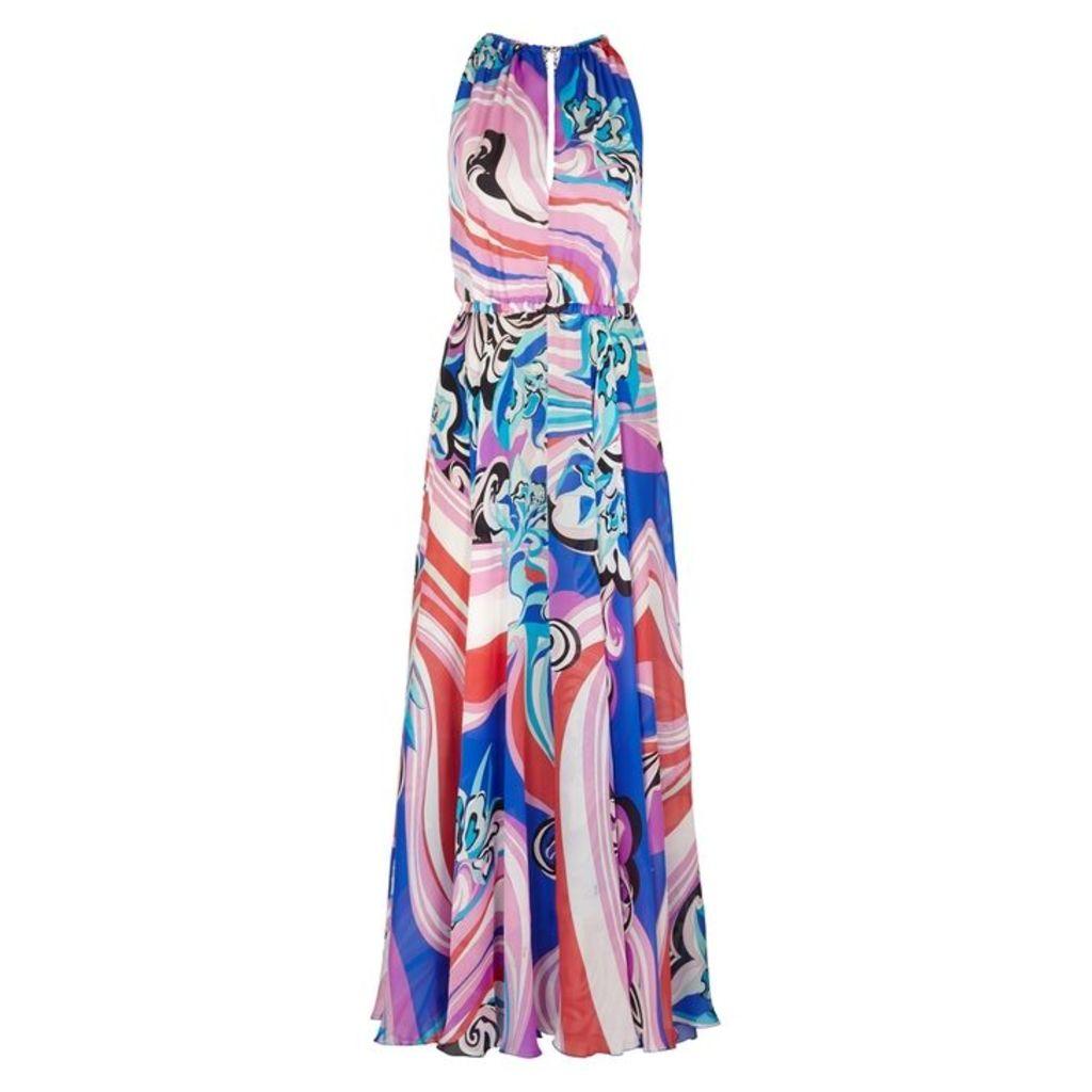 Emilio Pucci Printed Halterneck Silk Maxi Dress