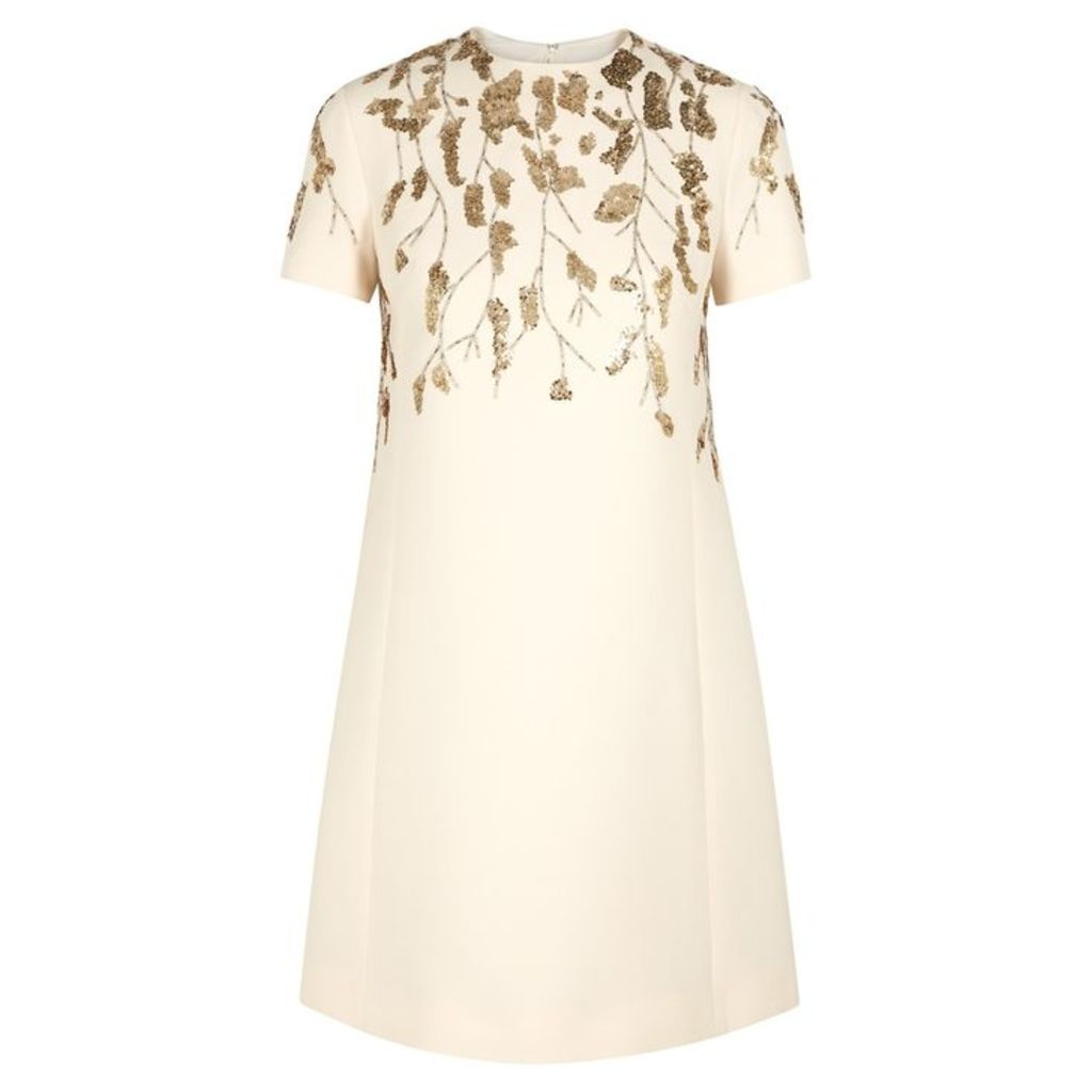 Valentino Ecru Embellished Wool-blend Dress