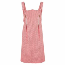 VERSACE Houndstooth-jacquard Cotton-blend Dress
