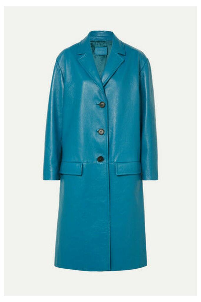 Prada - Oversized Textured-leather Coat - Blue