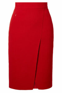 Akris - Wrap-effect Wool-crepe Skirt - Red