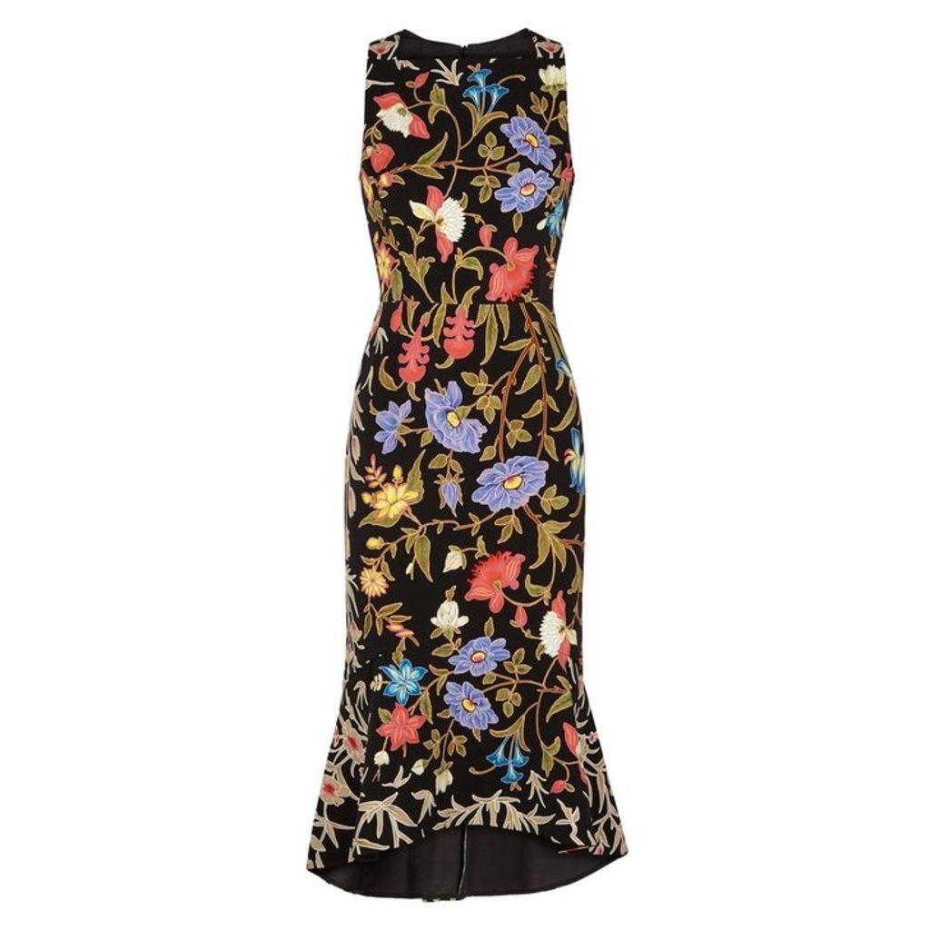 Peter Pilotto Kia Black Floral-print Dress