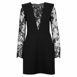 Alexander McQueen Lace-panelled Wool-blend Mini Dress