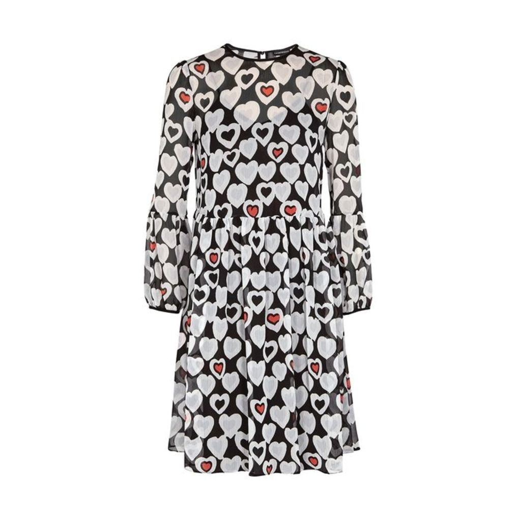 Emporio Armani Black Heart-print Plissé Dress