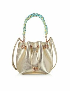 Sophia Webster Designer Handbags, Champagne Laminated Leather Romy Mini Bucket Bag