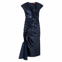 Sies Marjan Fleur Navy Ruched Satin Dress