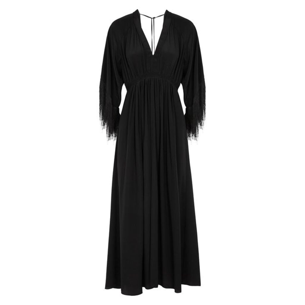 Forte forte Black Fringed Silk Maxi Dress