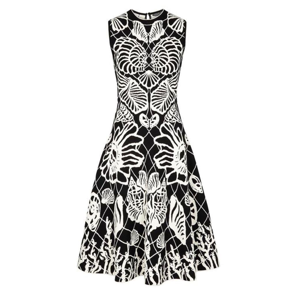 Alexander McQueen Black Intarsia Stretch-knit Midi Dress