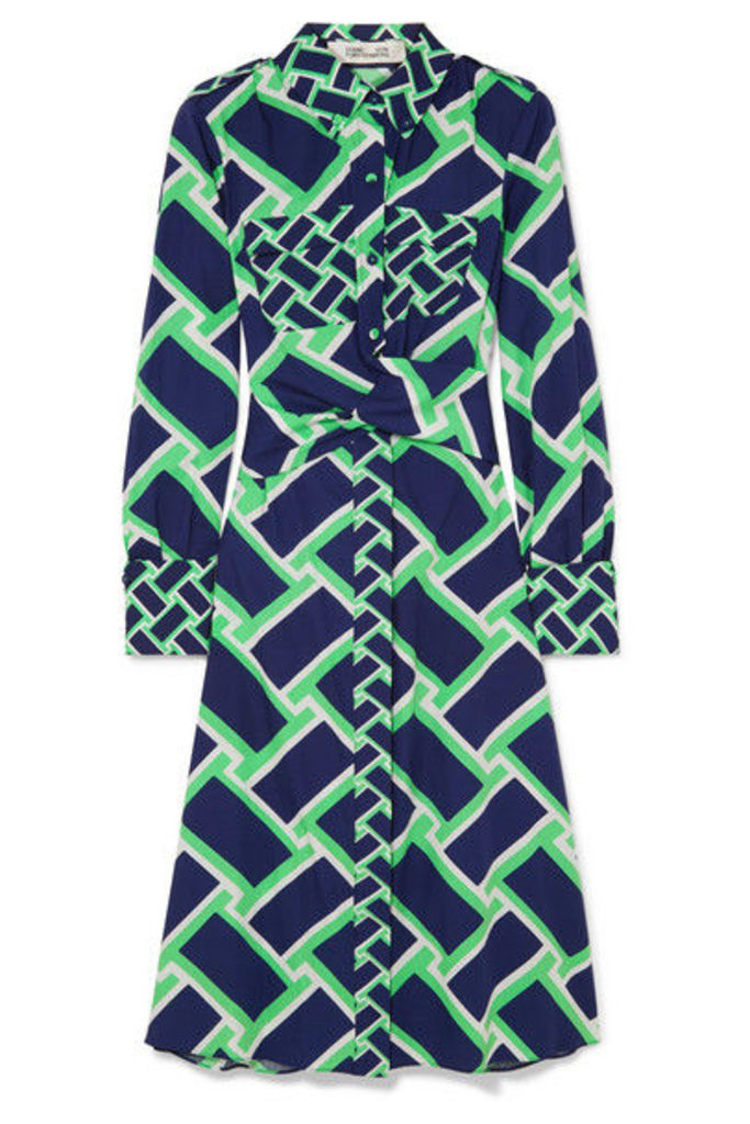 Diane von Furstenberg - Jeri Printed Cotton Midi Dress - Navy