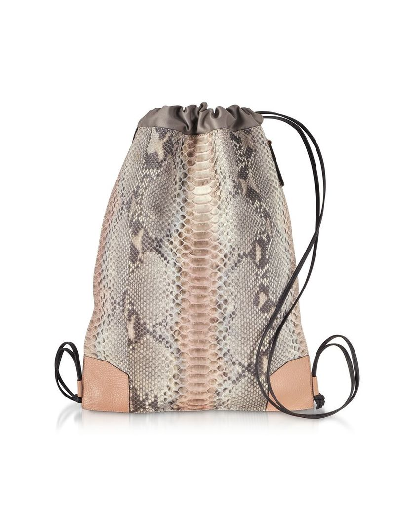 Ghibli Designer Handbags, Pearl Gray and Pale Pink Python Leather Backpack