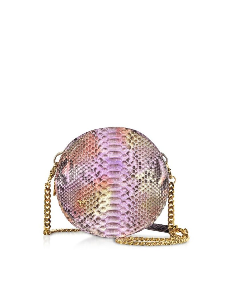 Ghibli Designer Handbags, Lilac Python Round Crossbody Bag