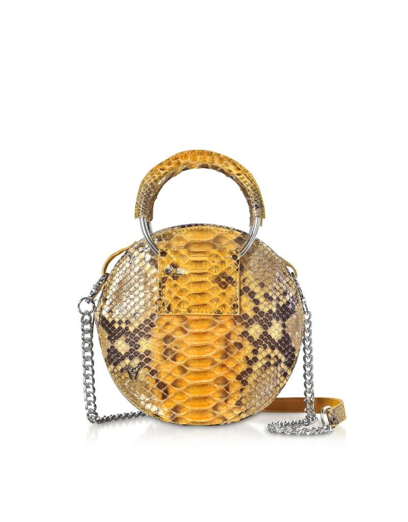 Ghibli Designer Handbags, Saffron Yellow Python Round Crossbody Bag w/Metal Handles