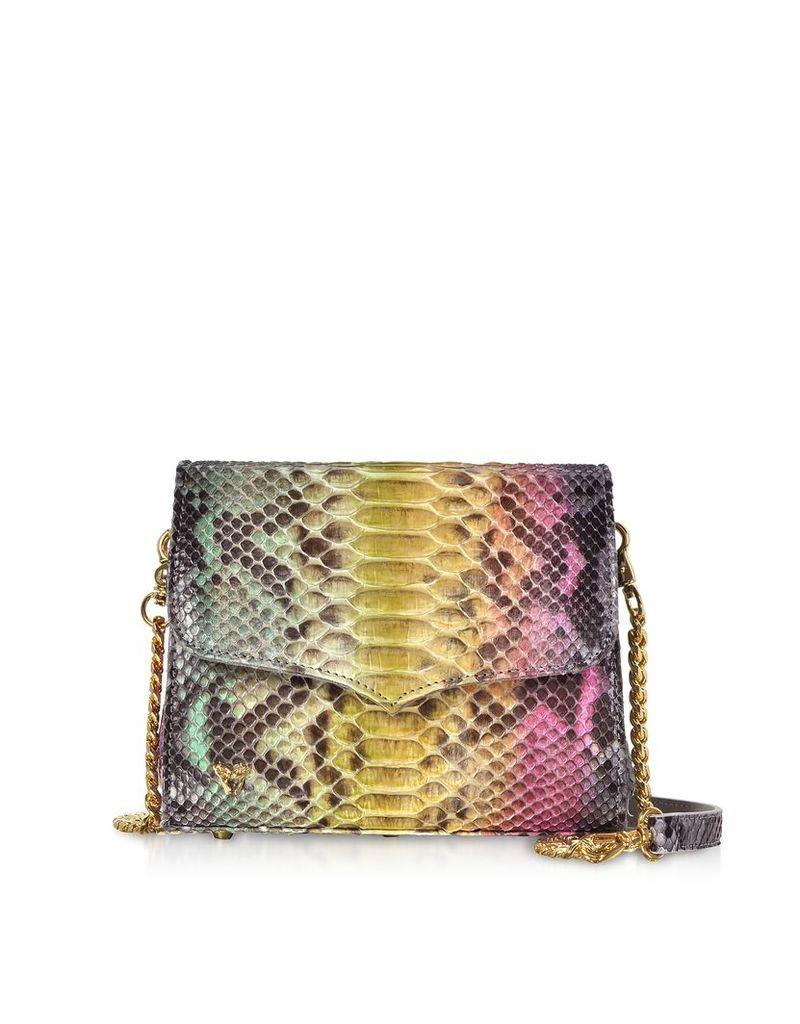Ghibli Designer Handbags, Multicolor Python Leather Shoulder Bag
